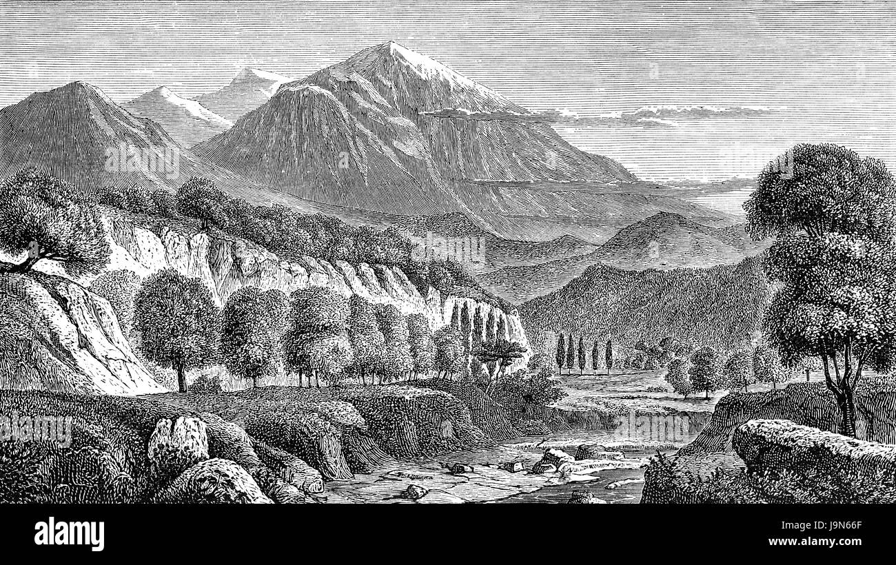 The Mount Olympus, the highest mountain in Greece, illustration, 19th century - Stock Image