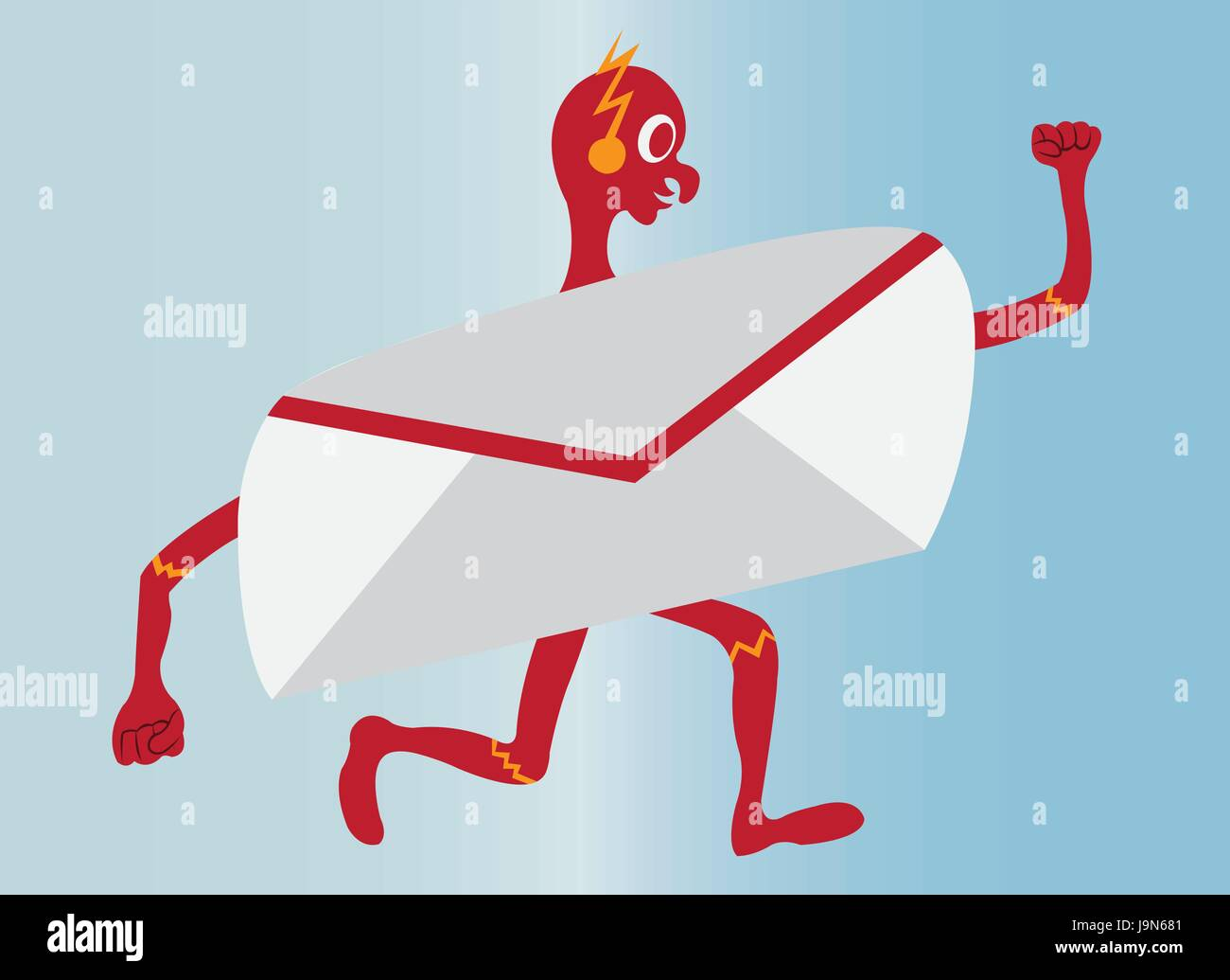 A mail letter running at a lightning speed - Stock Image