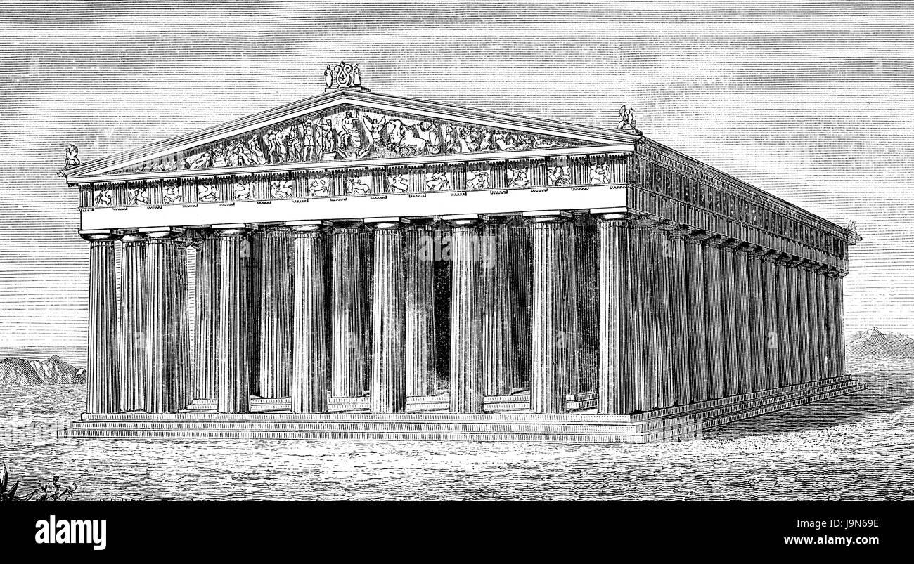 Reconstruction of the Parthenon-Temple, dedicated to the Greek goddess Pallas Athena Parthenos on the Acropolis - Stock Image
