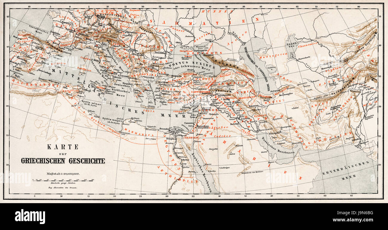Historical map of ancient Greece - Stock Image