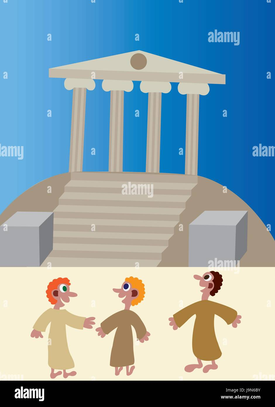 believers paying visit to a sacred ancient temple, - Stock Vector