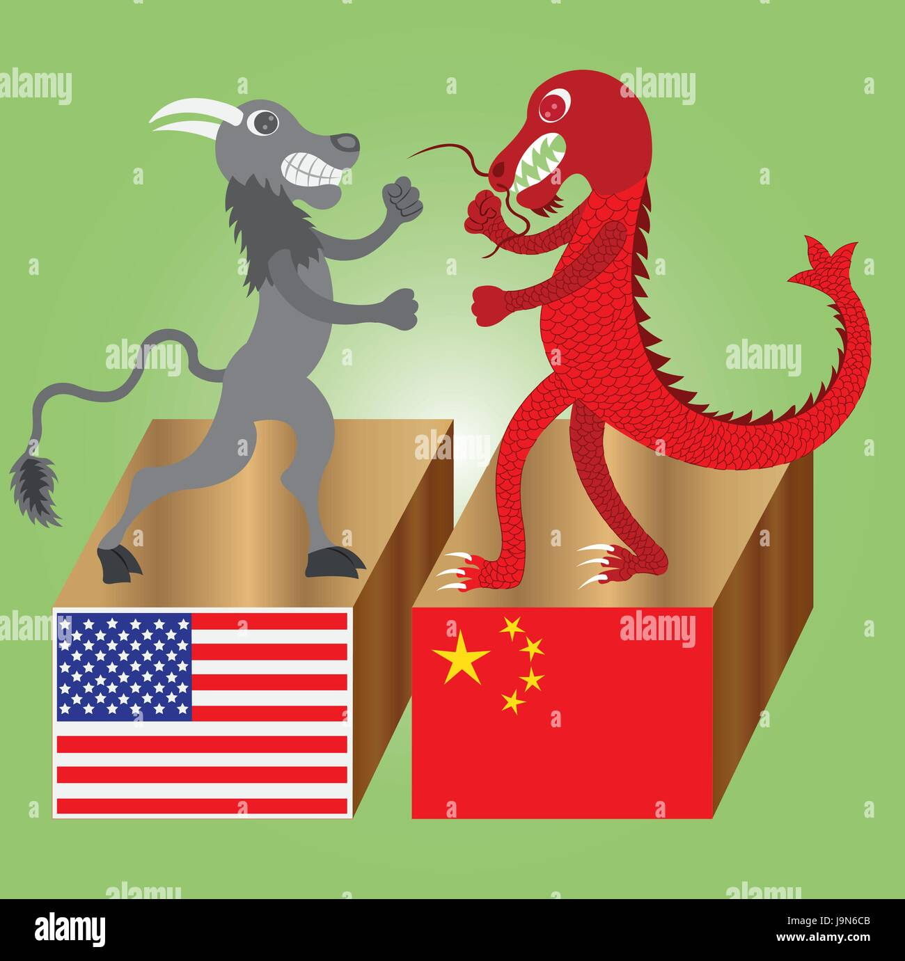 The American Buffalo in  Fist Fight with the Chinese Dragon - Stock Vector