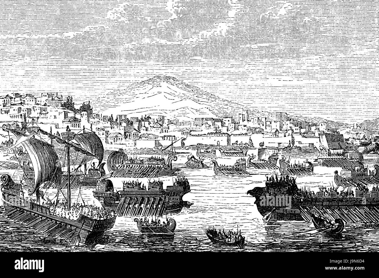 The Athenian fleet attacking Syracuse in Sicily, 415 BC, Peloponnesian War - Stock Image