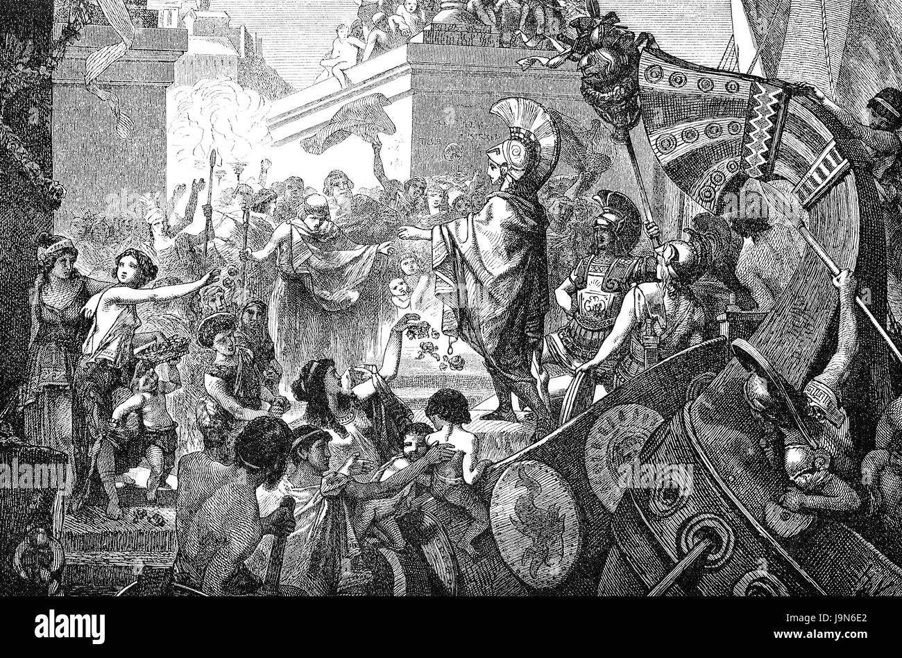 The return of Alcibiades, a prominent Athenian statesman, orator, and general in ancient Greece, 5th Century BC - Stock Image