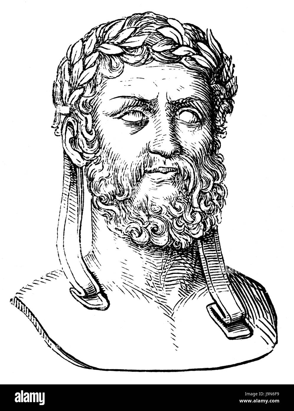 Xenophon of Athens, c. 430-354 BC, an ancient Greek philosopher, historian, soldier - Stock Image