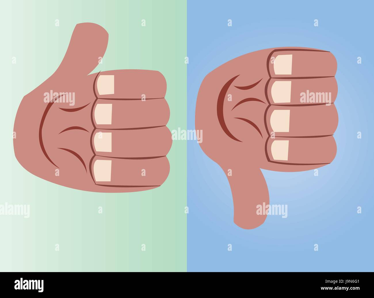 a thumb in an upward and downward pointing position, - Stock Image