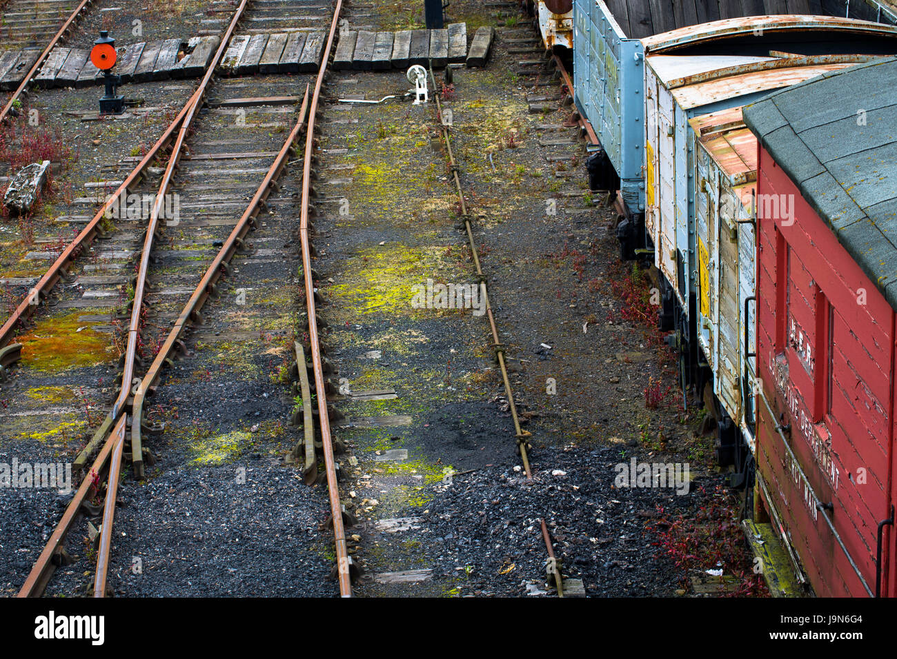 Waggons and track in the shunting yard at the Beamish Museum, County Durham.  Love the colours in this one.  July - Stock Image