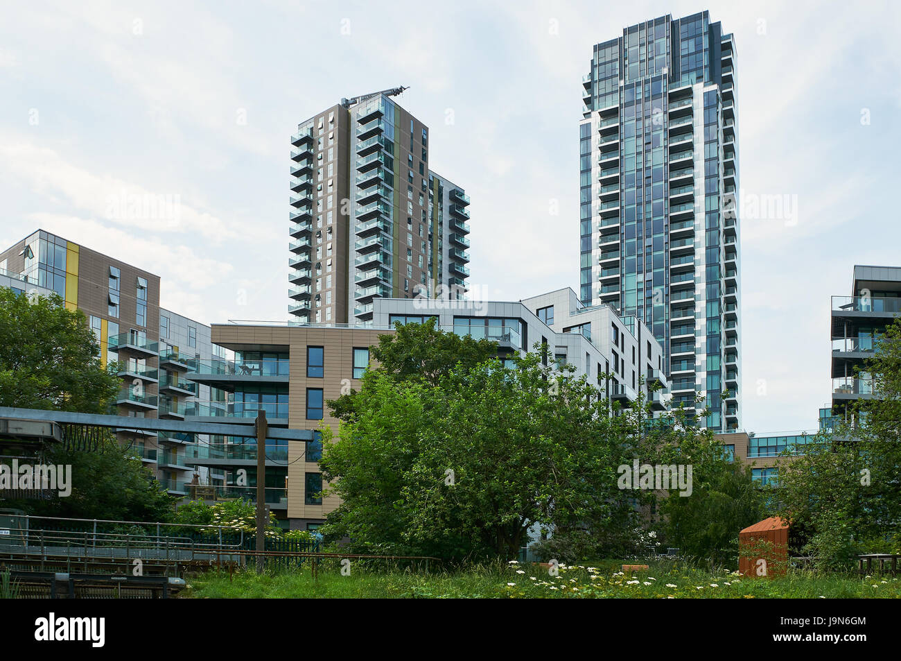 New apartments at Woodberry Down, North London UK - Stock Image