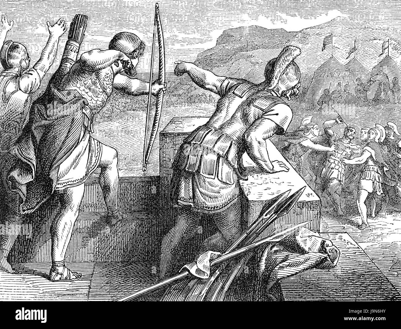 The city Methoni was besieged by the Macedonian King Philip II in 355/354 BC who lost his eye with an arrow - Stock Image