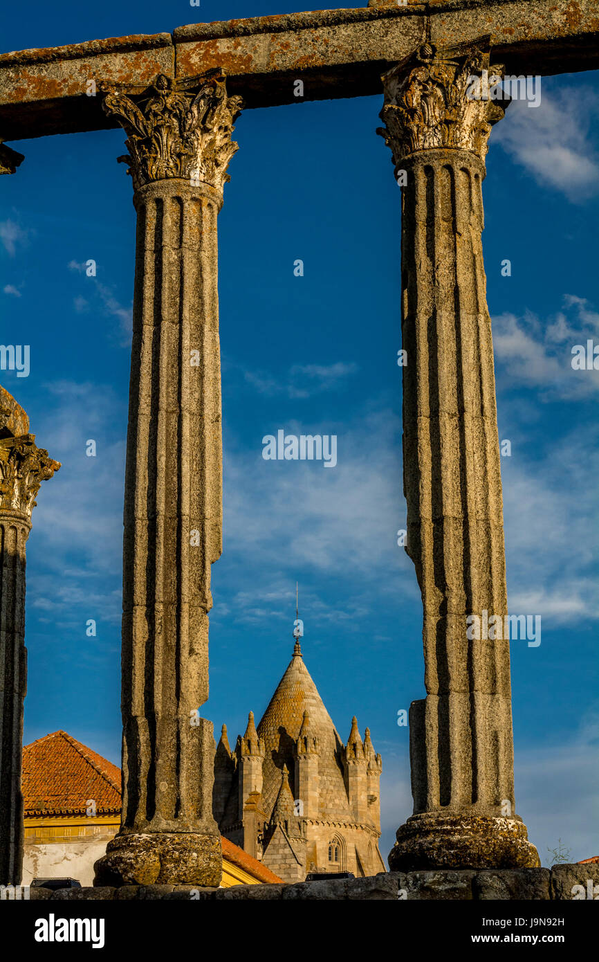 Ancient town Évora in Portugal, architecture of medieval times and views, heritage UNESCO - Stock Image