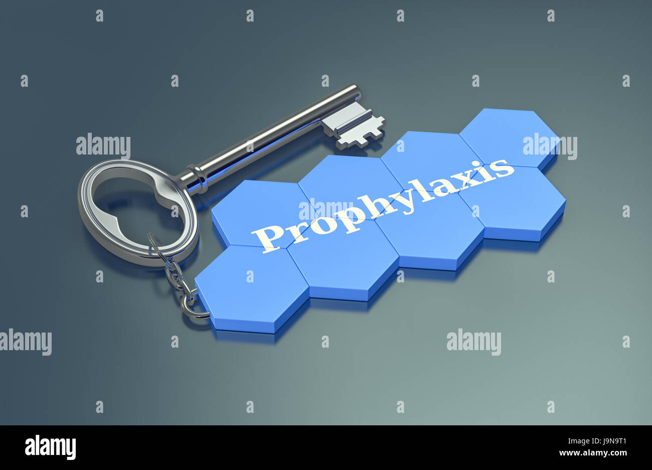 hexagon strucuture shaped as a keyring with text: prophylaxis (3d render) - Stock Image