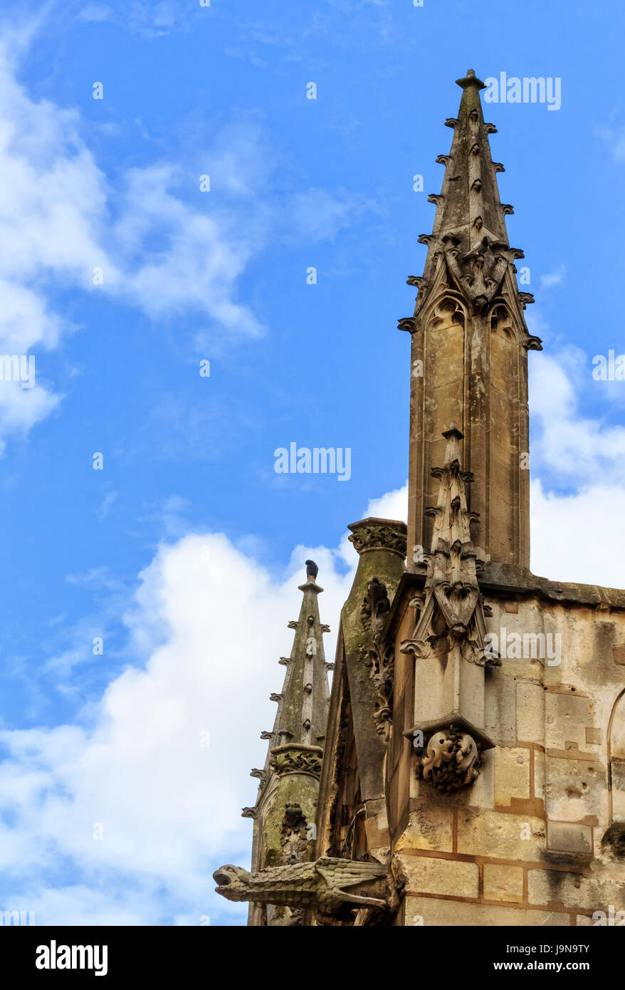 Saint-Séverin church- one of the oldest churches on the Left Bank in the Latin Quarter in Paris - Stock Image