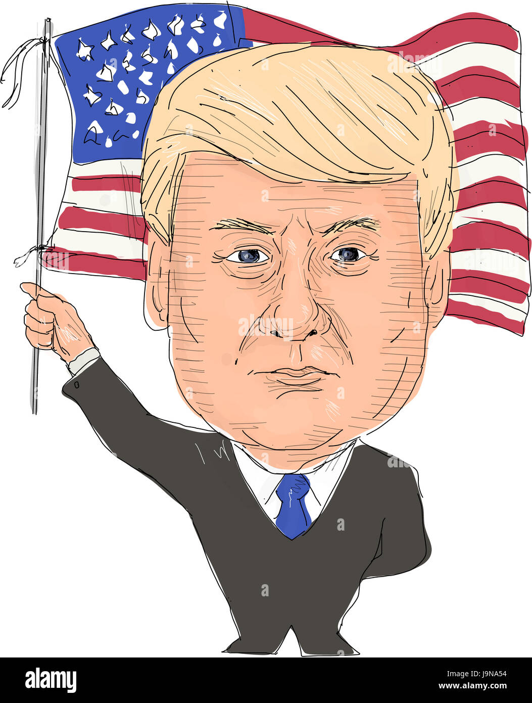 June 2, 2017: Watercolor style illustration of Donald Trump, President of the United States of America waving flag - Stock Image