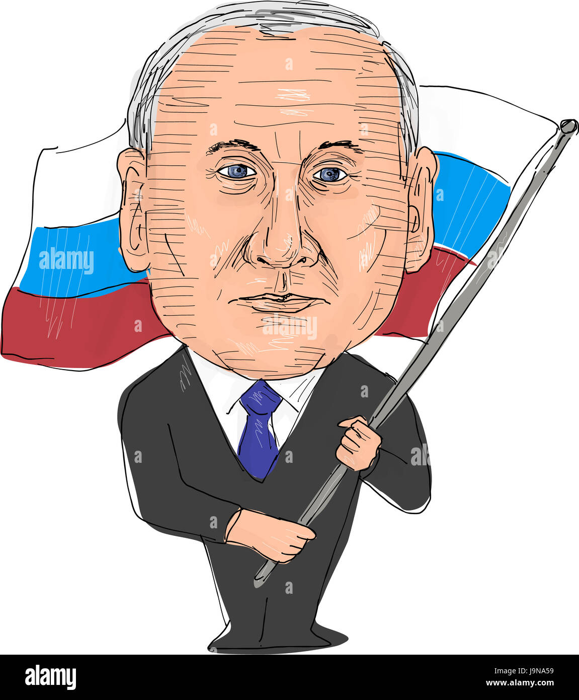 June 2, 2017: Watercolor style illustration of Vladimir Putin, President of Russia viewed from front set on isolated - Stock Image