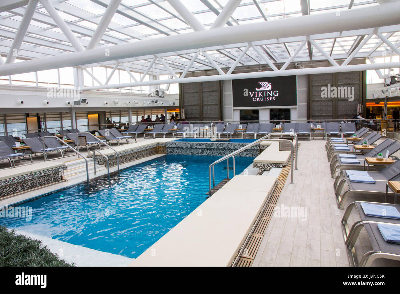Viking Sea\'s swimming pool features a retractable roof ...