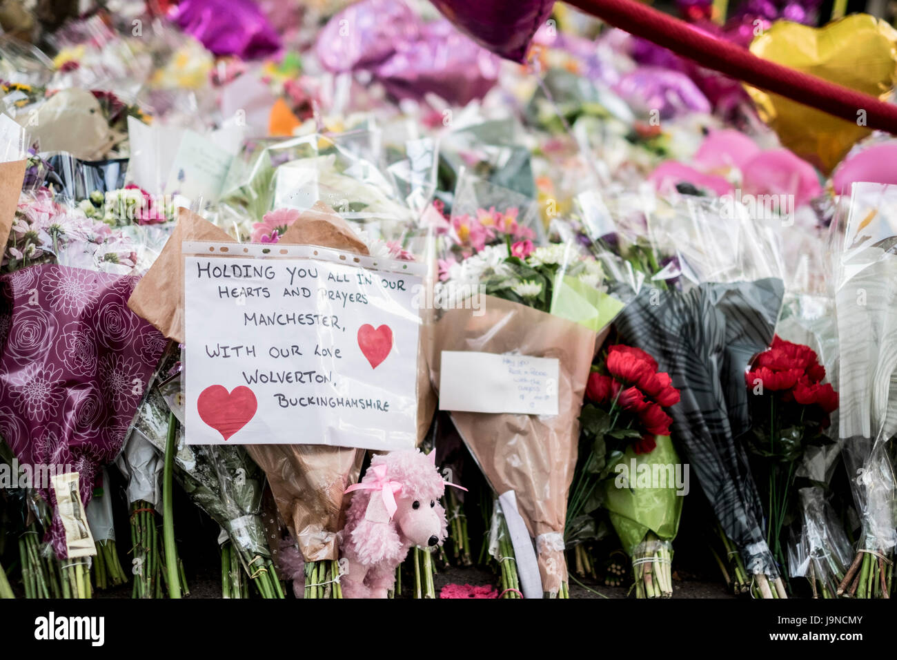 Manchester UK. 3rd June 2017. Moving floral tribute to the 22 people killed in the terror attack at the Ariana Grande Stock Photo