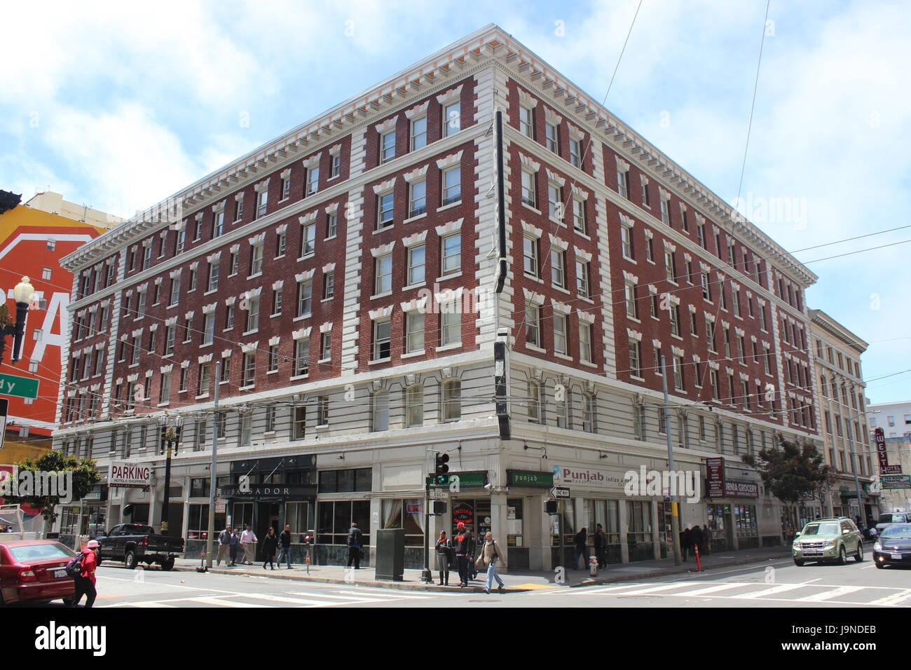 Hotel Ambassador, built 1911, Tenderloin, San Francisco, California - Stock Image
