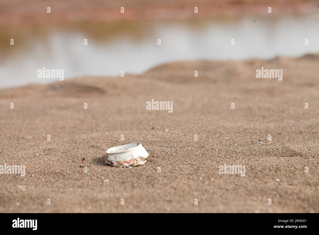 Top of a beer can littering on the beach. - Stock Image