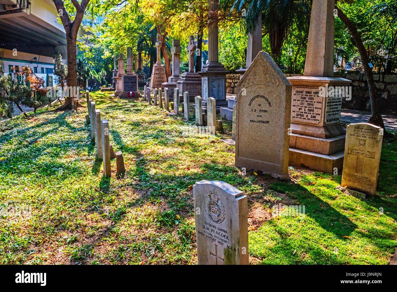 British Army Graves and Memorials, Hong Kong Cemetery, Happy Valley, Hong Kong - Stock Image