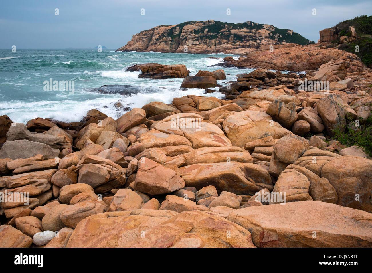 Coastline and South China Sea at Shek-O, Hong Kong - Stock Image