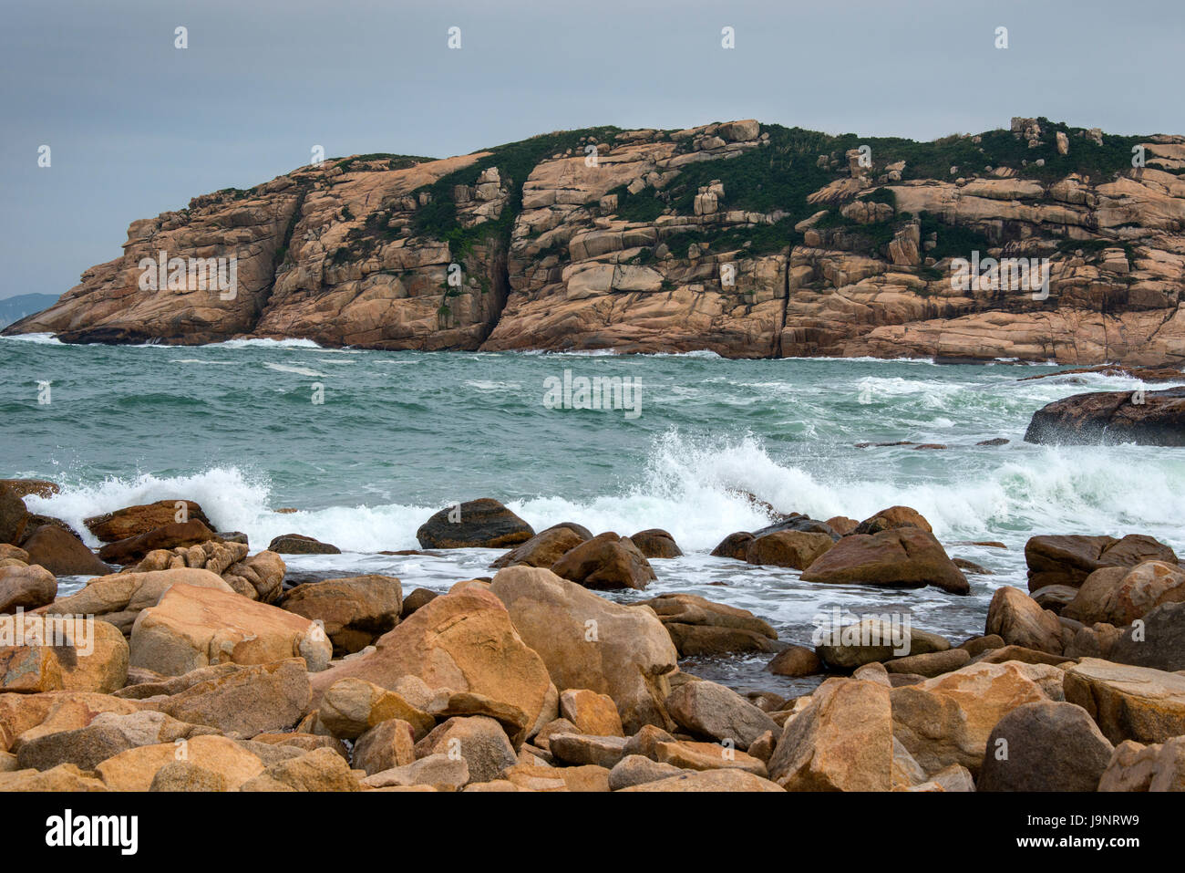 Coastline and South China Sea at Shek-O, Hong Kong - Stock Image