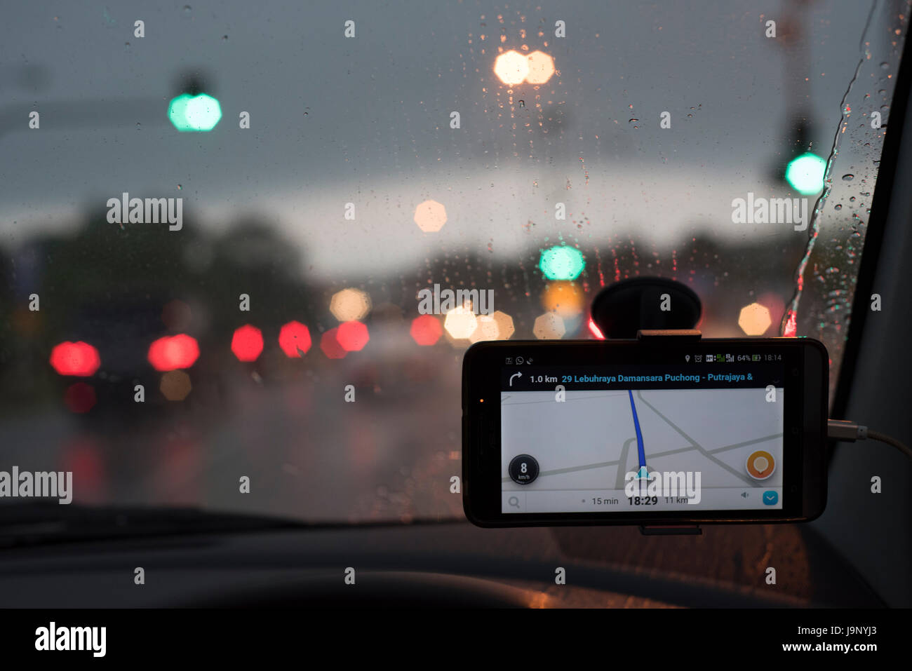 GPS navigation system in the car - Stock Image