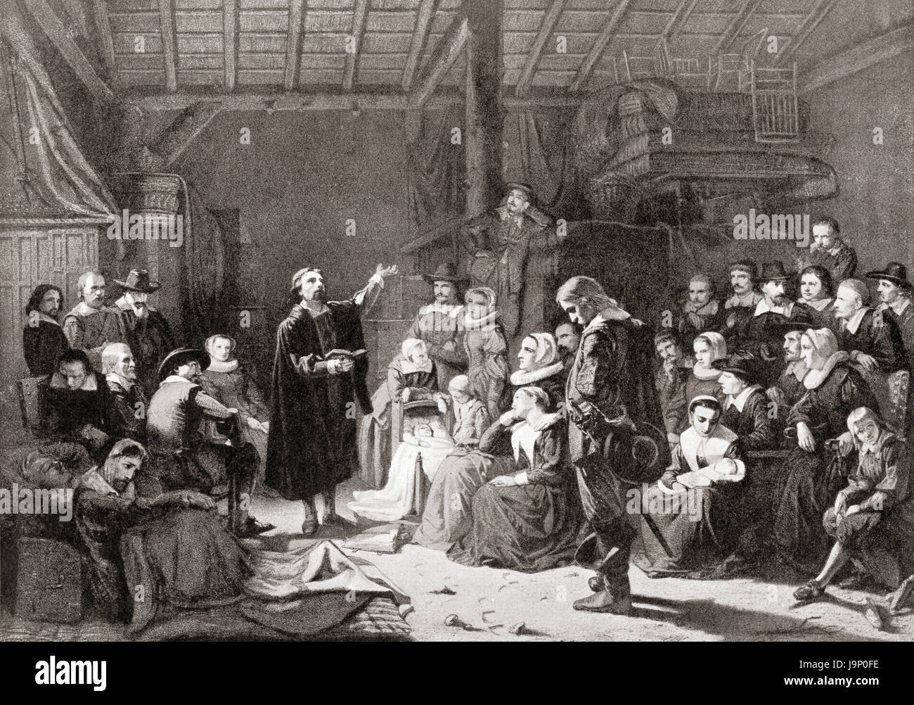 The first meeting of the Pilgrim Fathers, 17th century.  From Hutchinson's History of the Nations, published - Stock Image