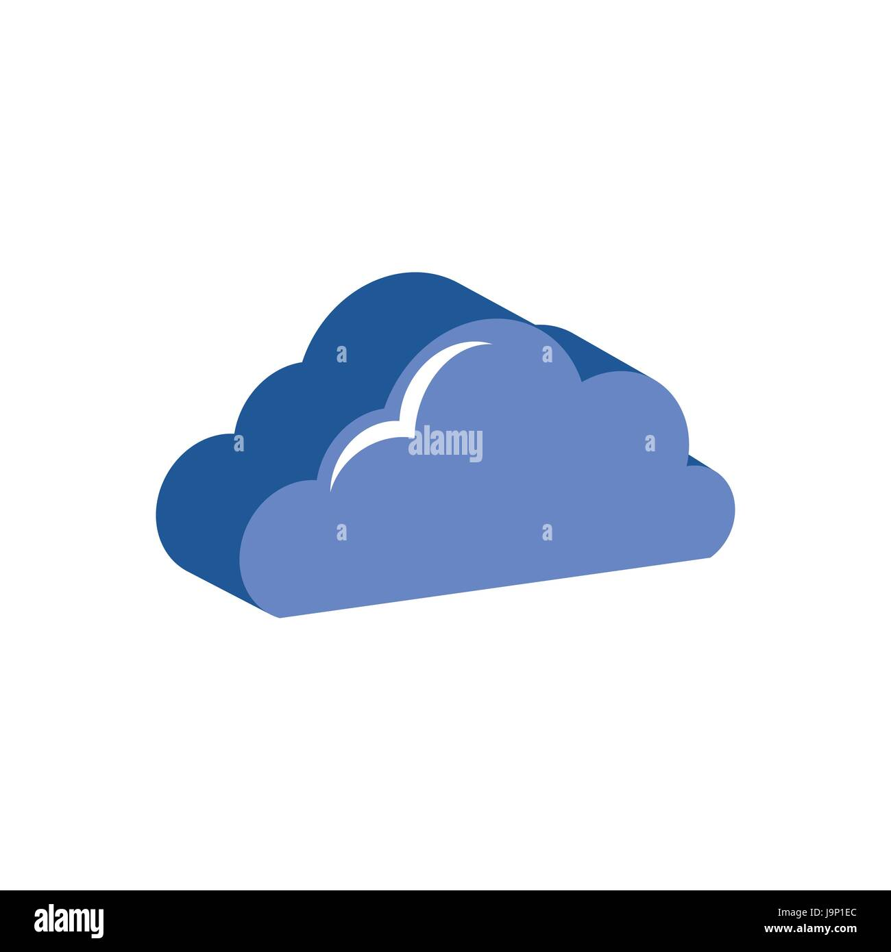 Cloud Symbol Flat Isometric Icon Or Logo 3d Style Pictogram For
