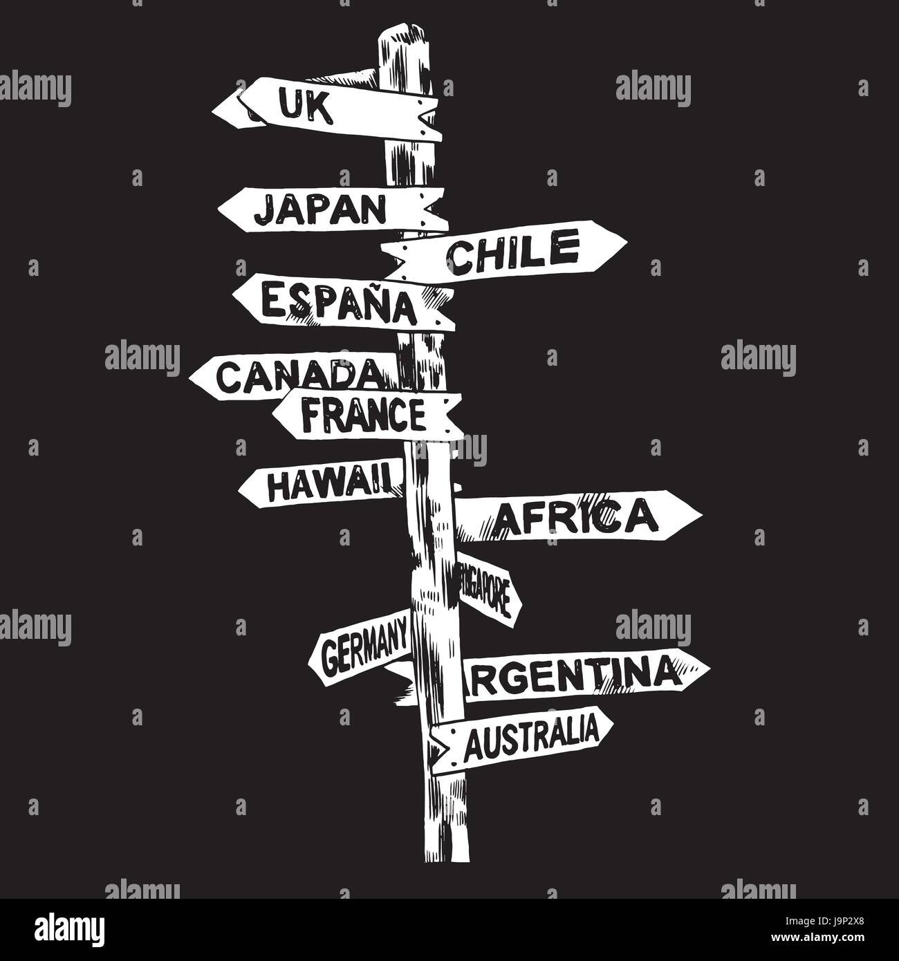Direction signs different countries. Isolated illustration. Vector - Stock Vector