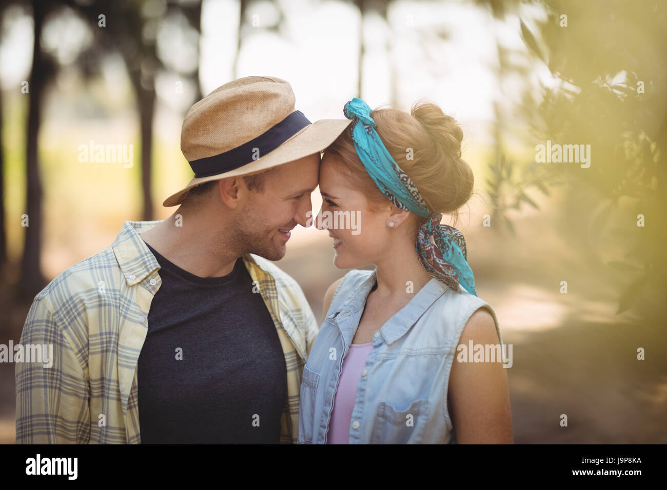 Cheerful young couple rubbing noses at olive farm - Stock Image