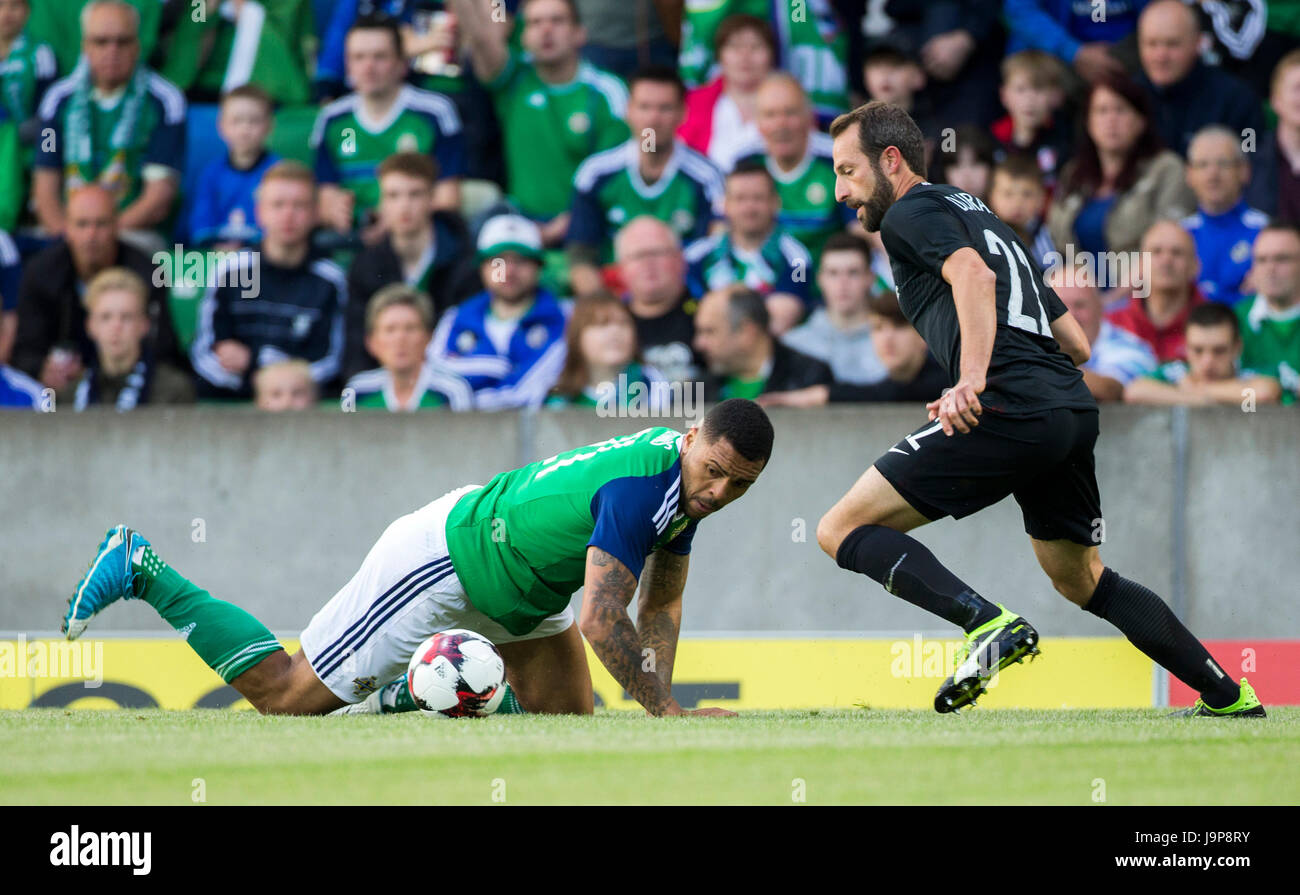 d3848589ed Northern Ireland s Josh Magennis (left) in action against NNew Zealand s  Andrew Durante during the international friendly match at Windsor Park