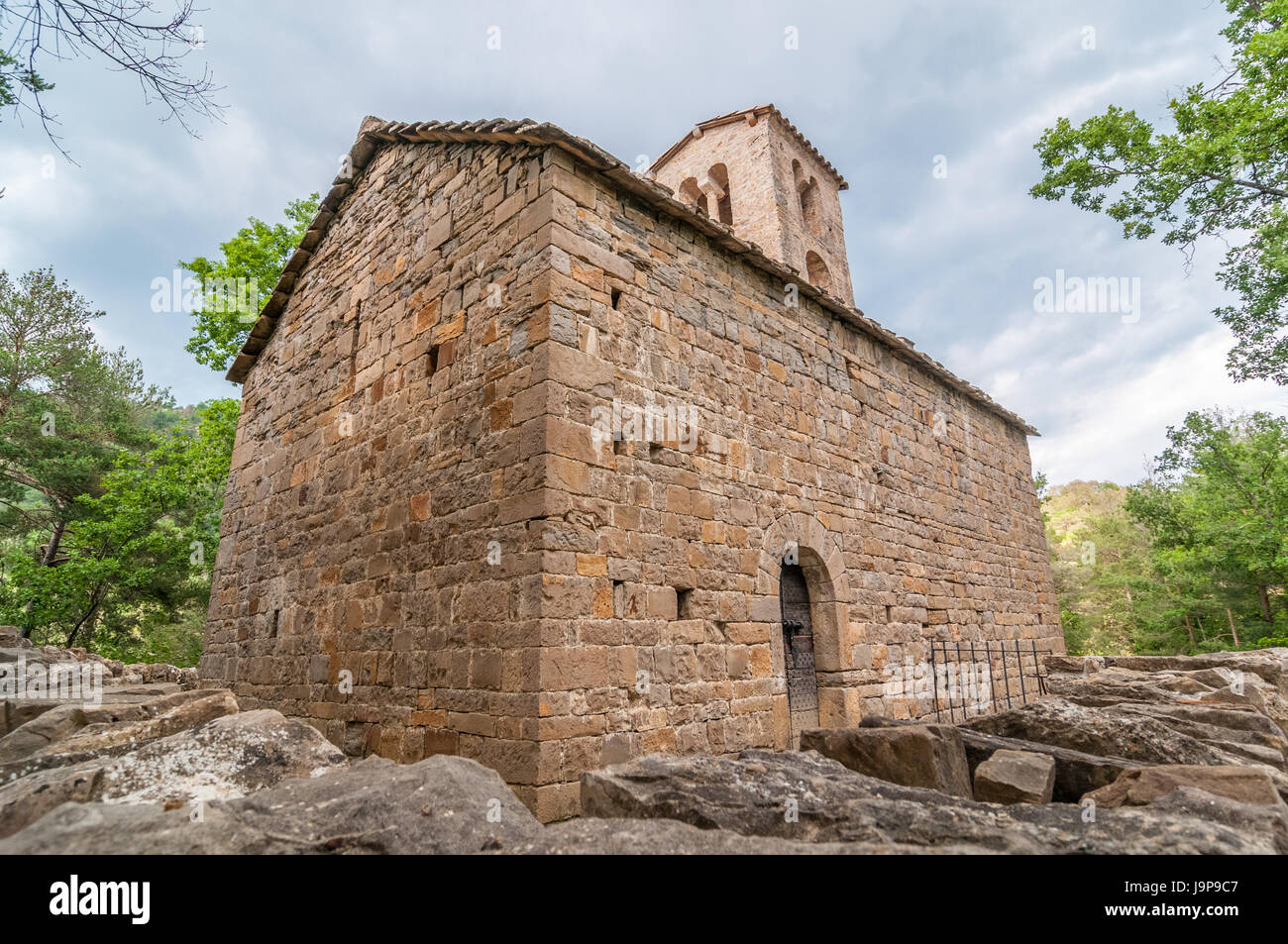 Sant Sadurni Rotgers church, romanesque church, Xi century, near Borredà, Catalonia, Spain - Stock Image