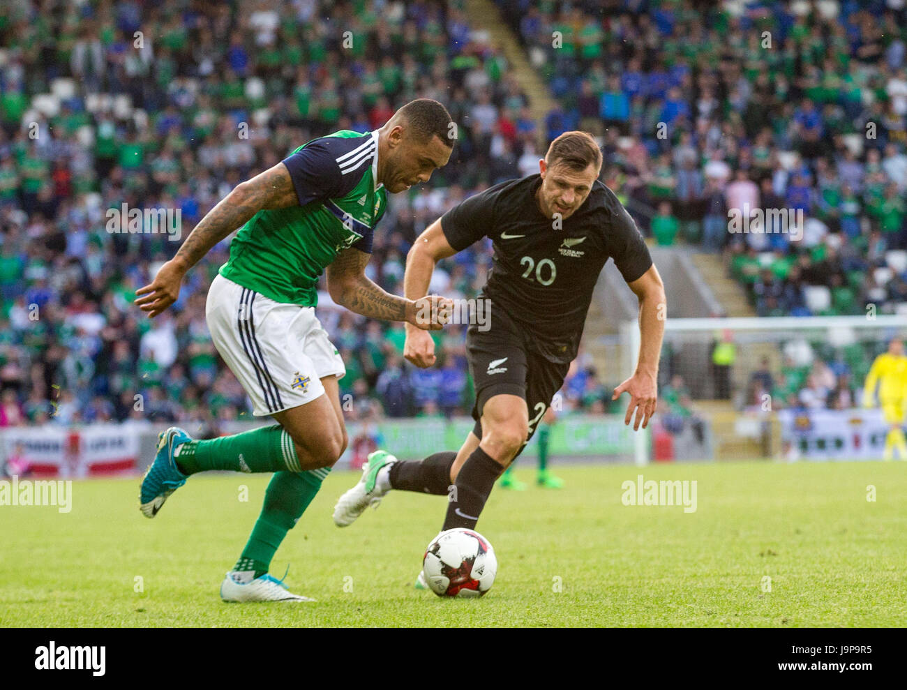 c1b6265e7d Northern Ireland s Josh Magennis (left) in action against New Zealand s  Tommy Smith during the international friendly match at Windsor Park