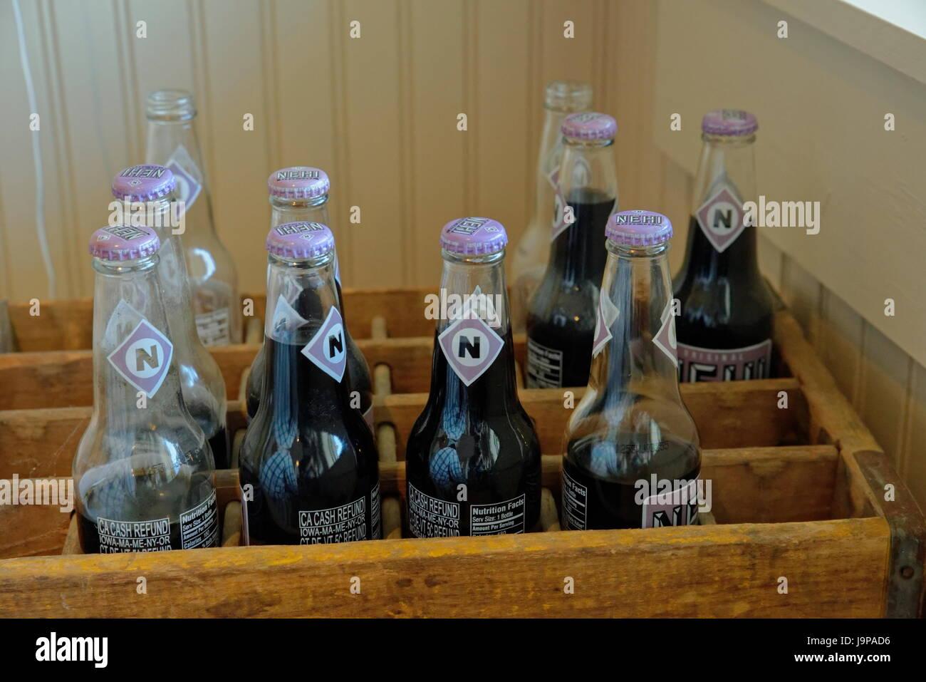 Nehi grape soda bottles in wooden crate Stock Photo - Alamy