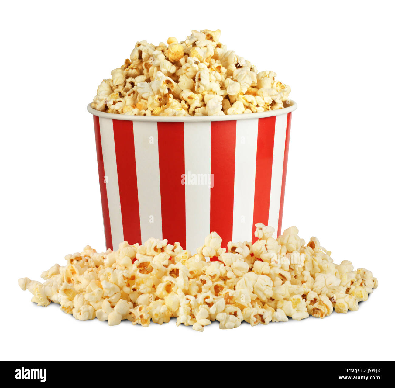 Popcorn in box with pill isolated on white, clipping path - Stock Image