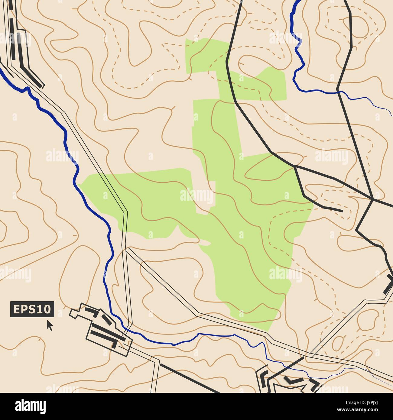 Topographic Map Background Concept With Roads Forests Settlements