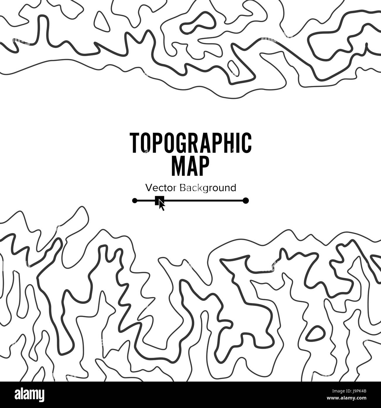 Contour Topographic Map Vector. Geography Wavy Backdrop. Cartography Graphic Concept. - Stock Image