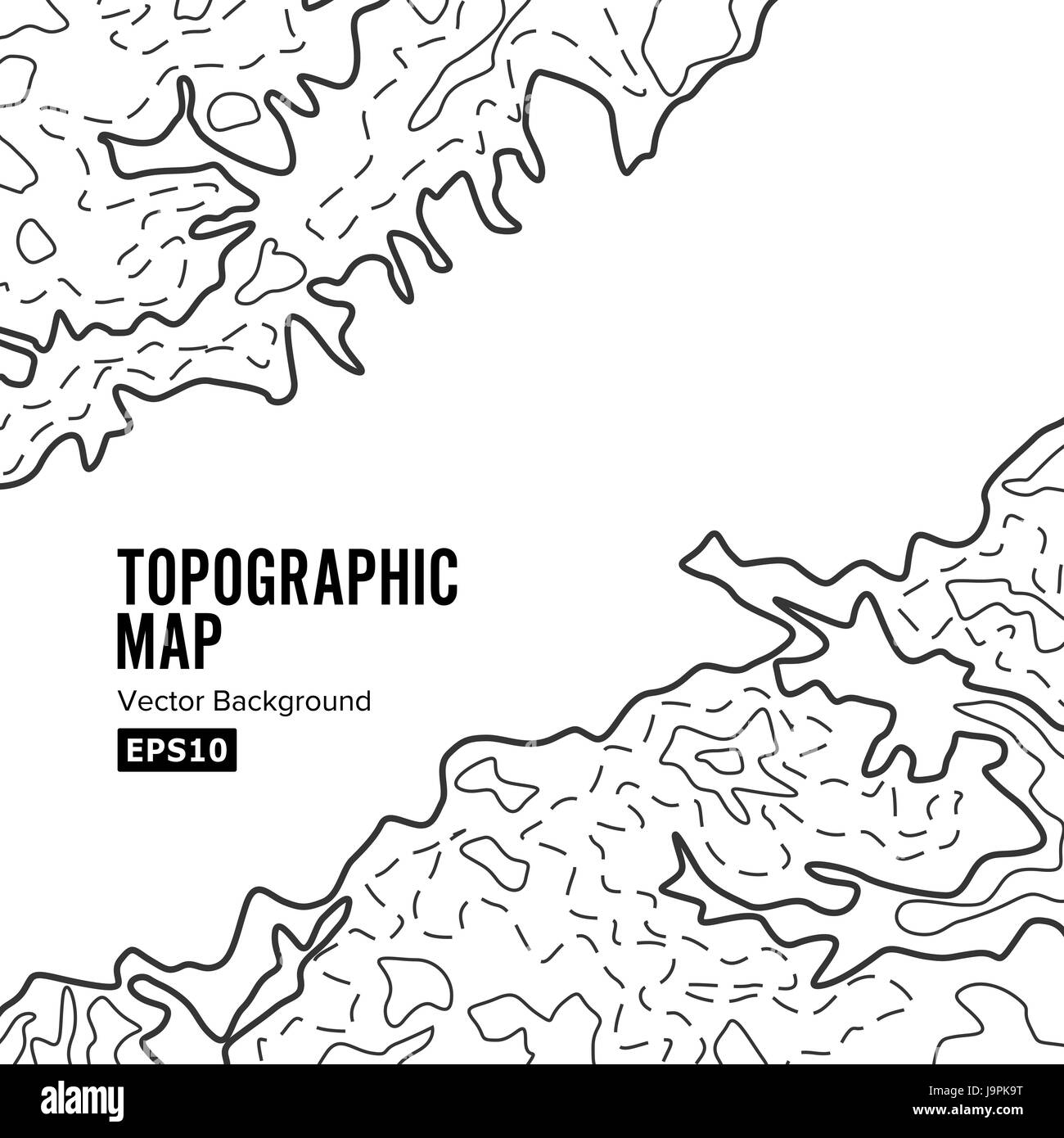 Topographic Map Background Concept. Elevation . Topo Contour  . Isolated On White - Stock Image