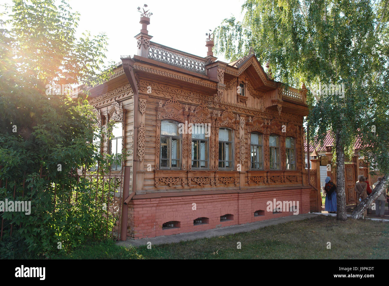 Russia,Omsk,Bolscheretschje,old restored villa of woodwork,today museum, - Stock Image