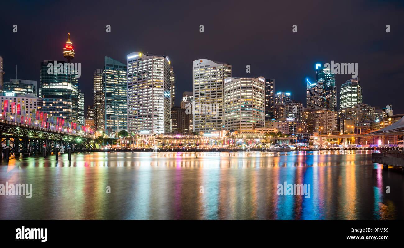 Cockle bay, Darling Harbour at dusk. Sydney, NSW, Australia. - Stock Image