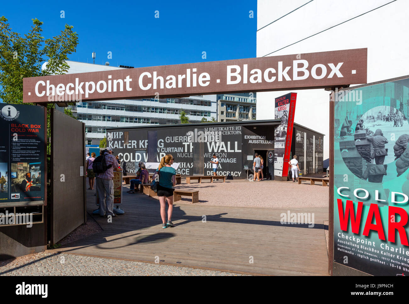 Entrance to Black Box, an information pavilion on the history of Checkpoint Charlie and the Berlin Wall, Berlin, - Stock Image