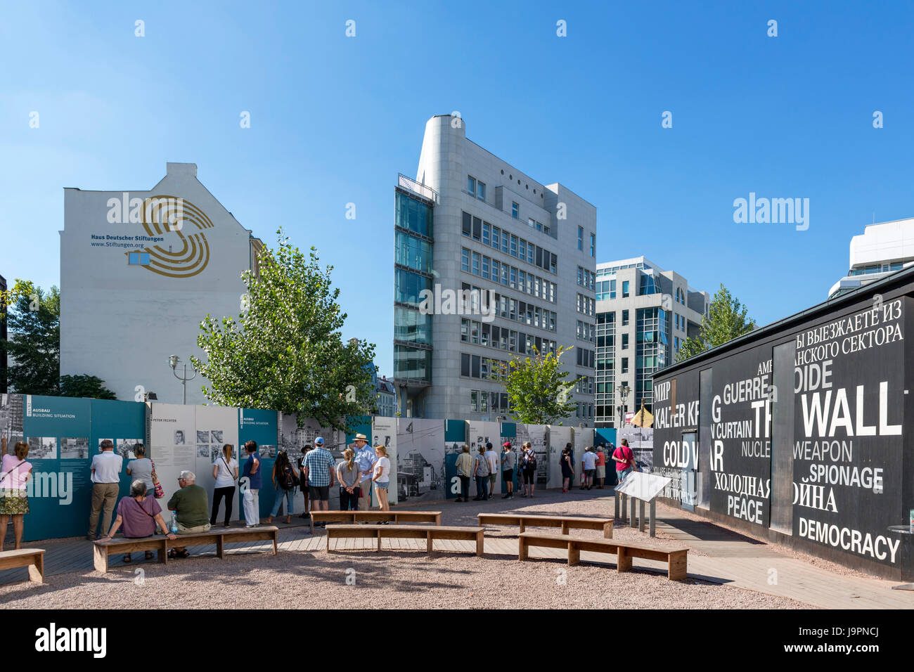 Black Box, an information pavilion on the history of Checkpoint Charlie and the Berlin Wall, Berlin, Germany - Stock Image