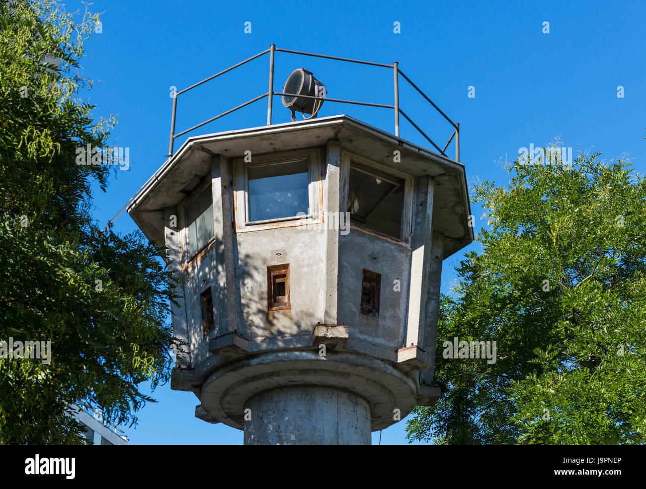 Old GDR Watchtower (DDR-Grenzwachturm), Erna-Berger-Strasse, Mitte, Berlin, Germany - Stock Image