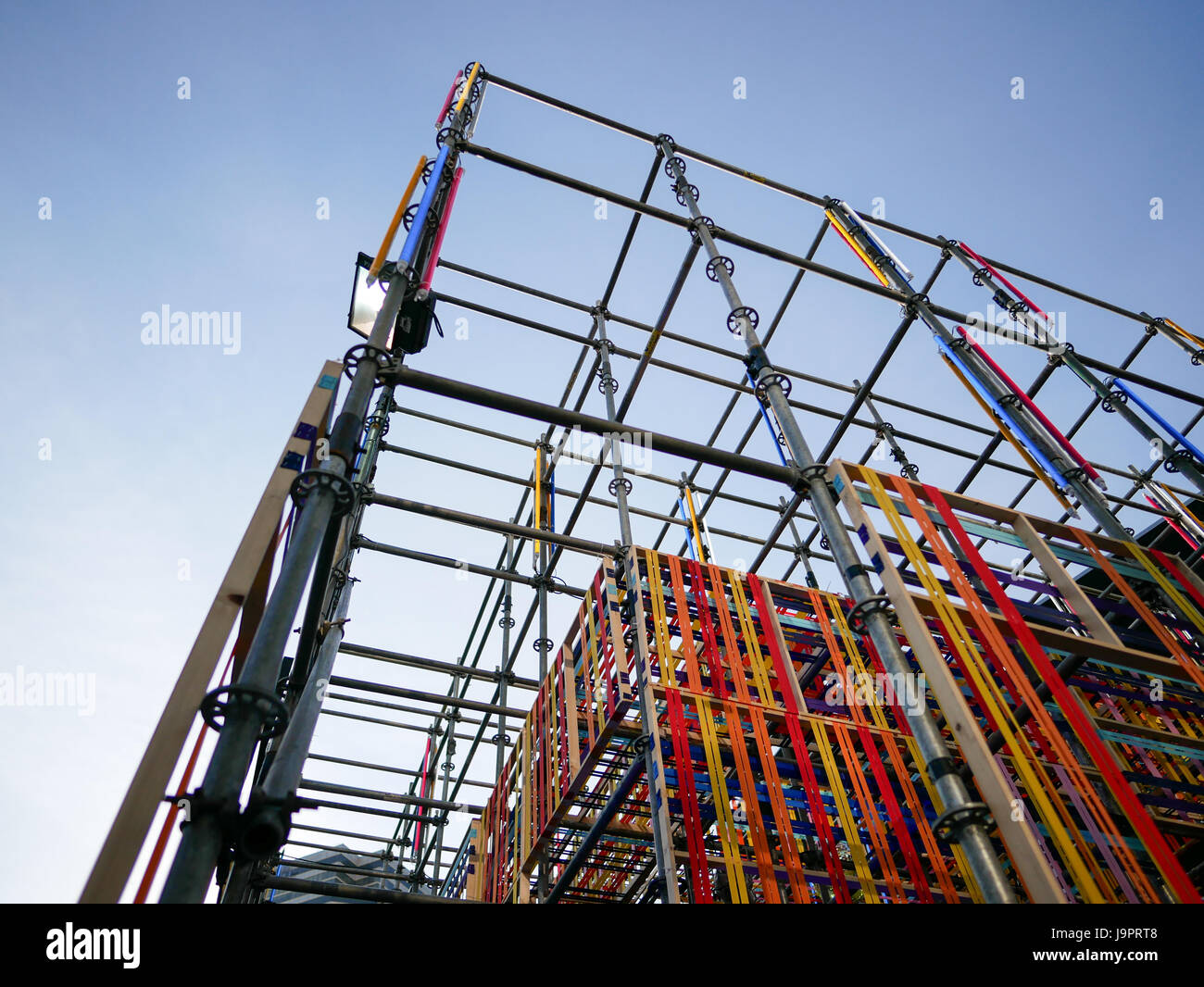 Low Angle View Part of Stage Structure with Colorful Fabric - Stock Image