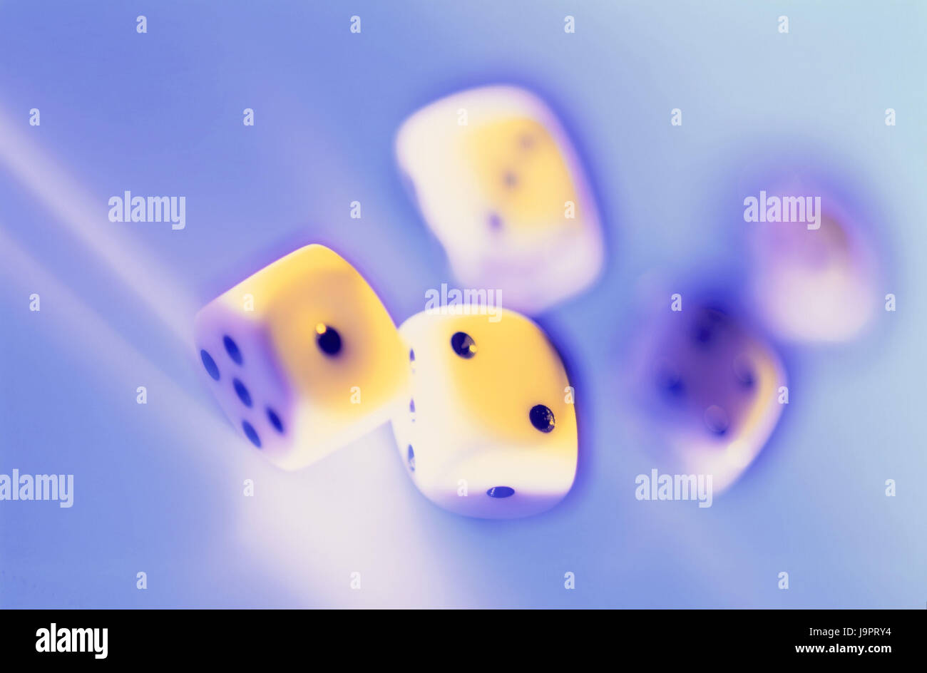 Game of chance,cube,blur,game,craps,play,gamble,game cubes,throw dice,five,luck,pitch,capture,lose,number,fall,motion,studio, - Stock Image