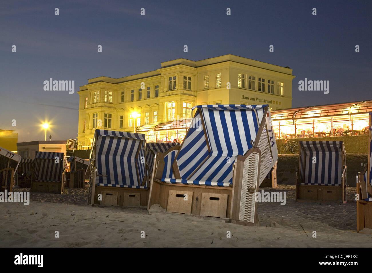 Germany,Lower Saxony,island Norderney,west bath,beach chairs,evening,Europe,North Sea coast,North Sea island,East Stock Photo