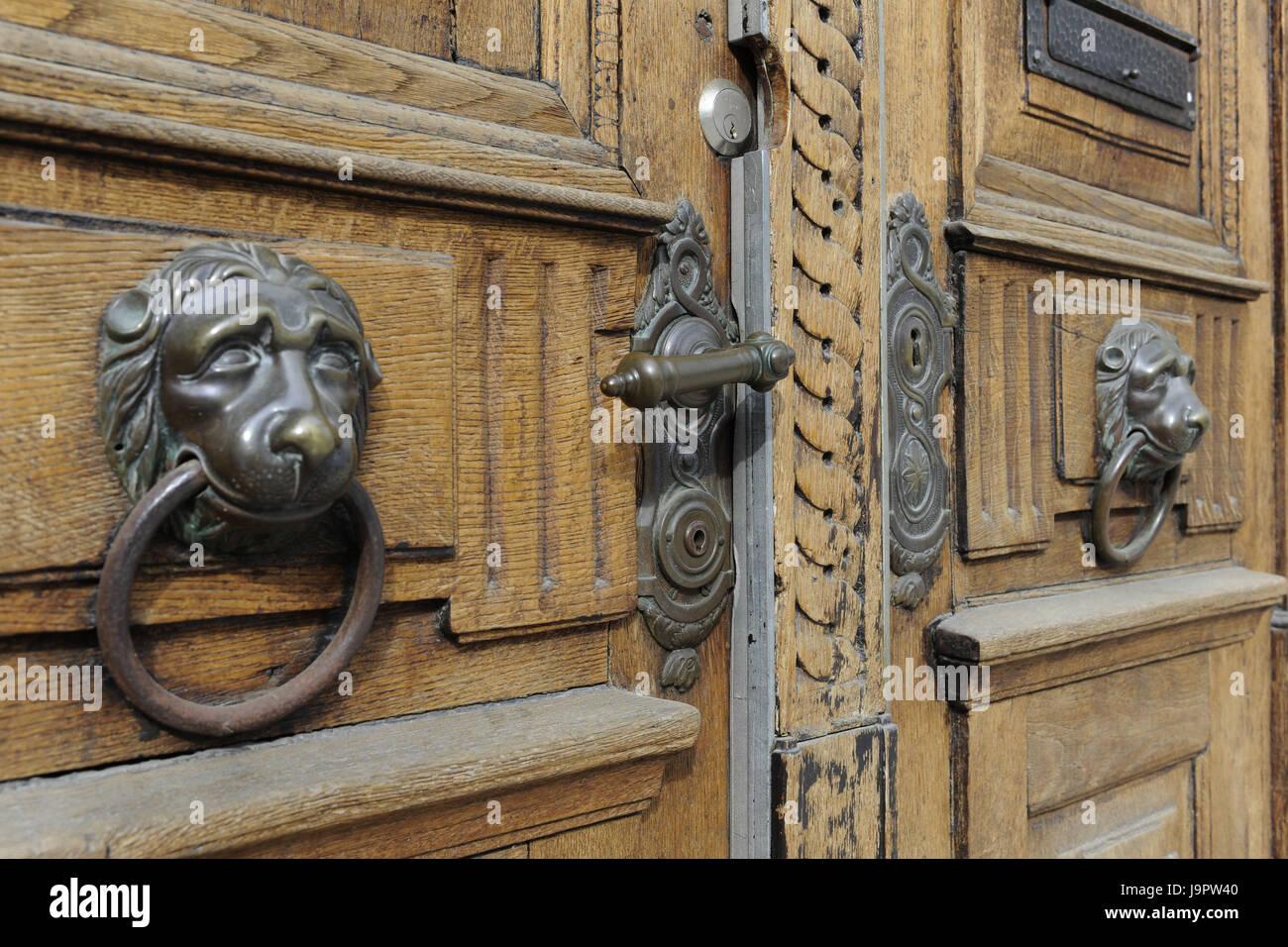 wooden door,metal fittings,historically,detail, Stock Photo