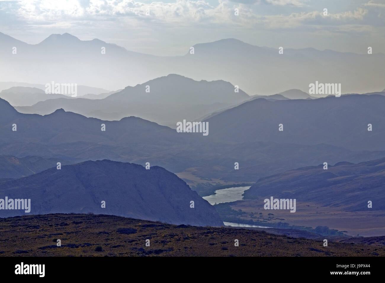South-West Africa,Namibia,Kunene region,Hartmann,Kunene flux,border flux,mountain landscape,Angola,beautyful clouds, - Stock Image