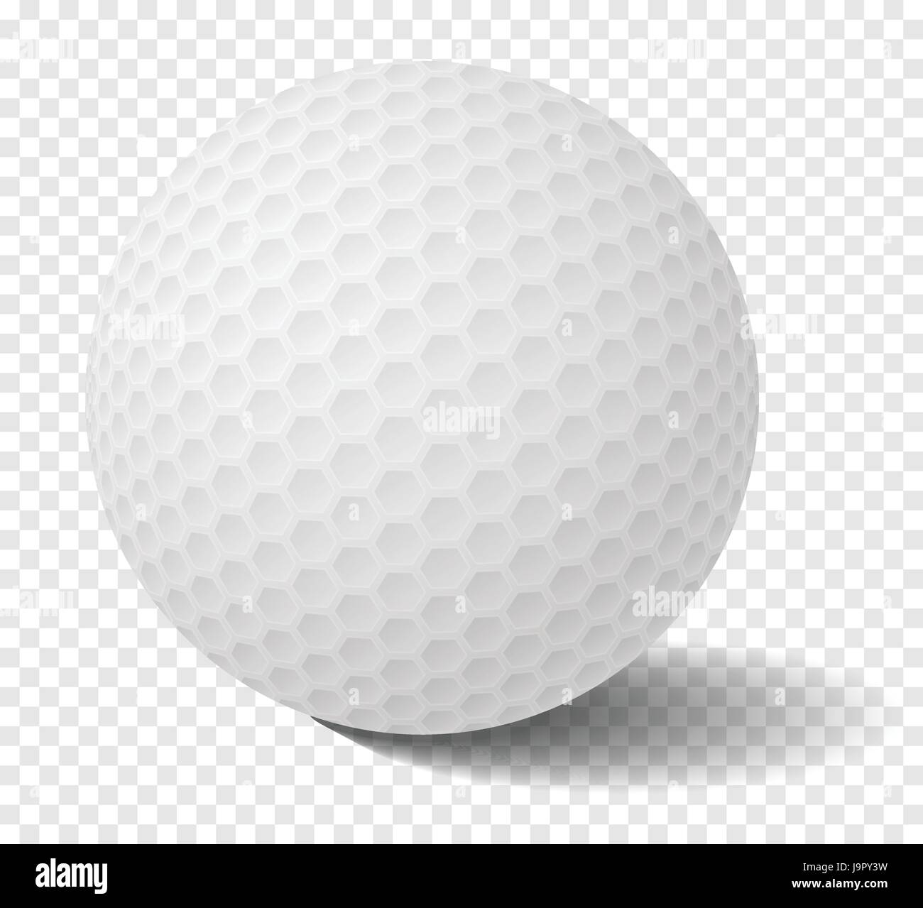 Realistic Isolated golf ball on transparency grid - Vector Illustration - Stock Image