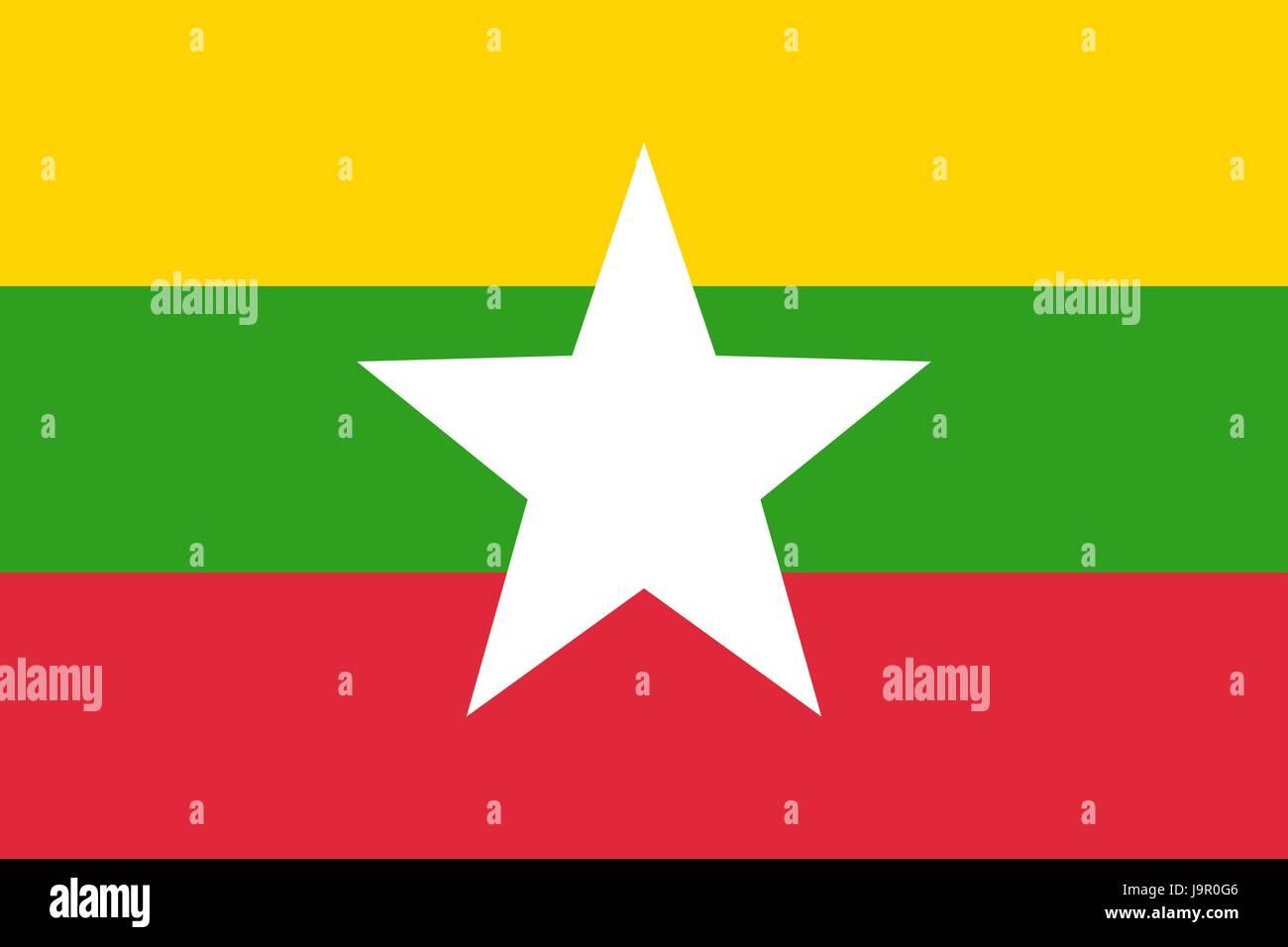Flag of Myanmar - Stock Vector